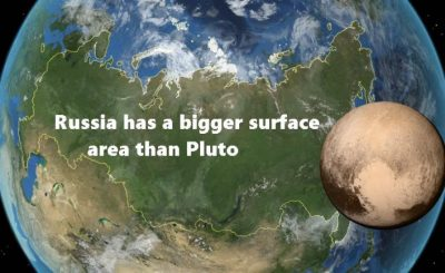 Russia has a bigger surface area than Pluto