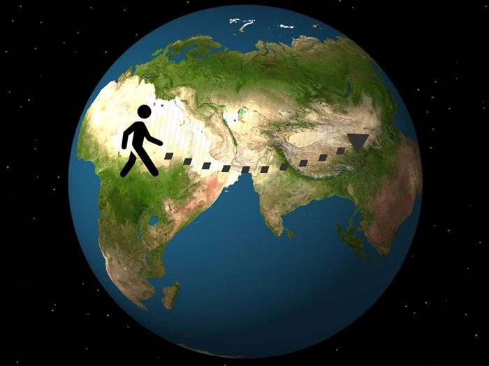 An average person walks the equivalent of five times around the Earth in his life